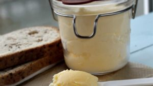 Glass jar filled with butter